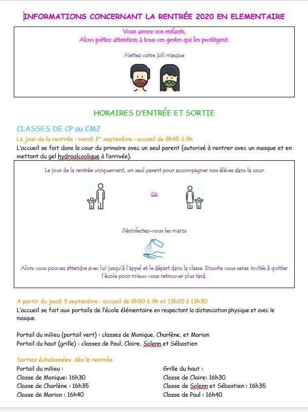 Protocole rentree elementaire 2